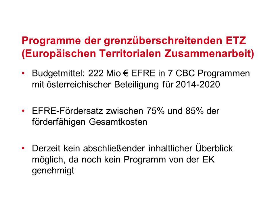 Programme der grenzüberschreitenden ETZ (Europäischen Territorialen Zusammenarbeit)