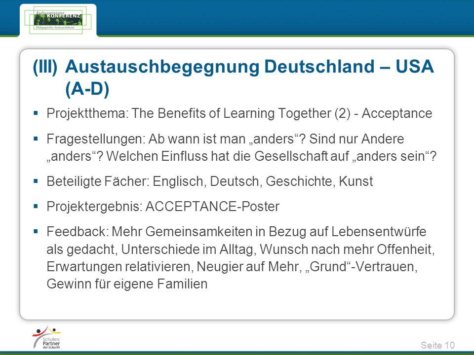 (III) Austauschbegegnung Deutschland – USA (A-D)