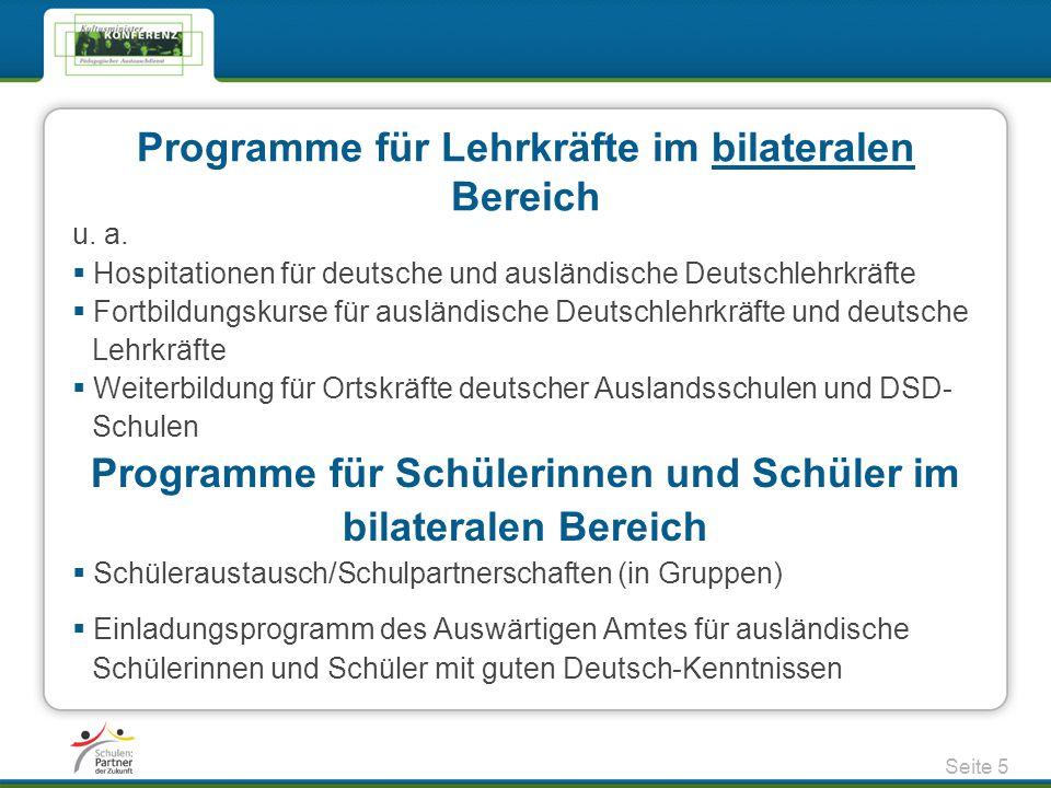 Programme für Lehrkräfte im bilateralen Bereich