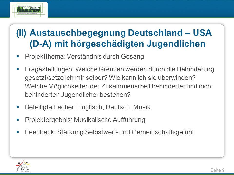 (II) Austauschbegegnung Deutschland – USA
