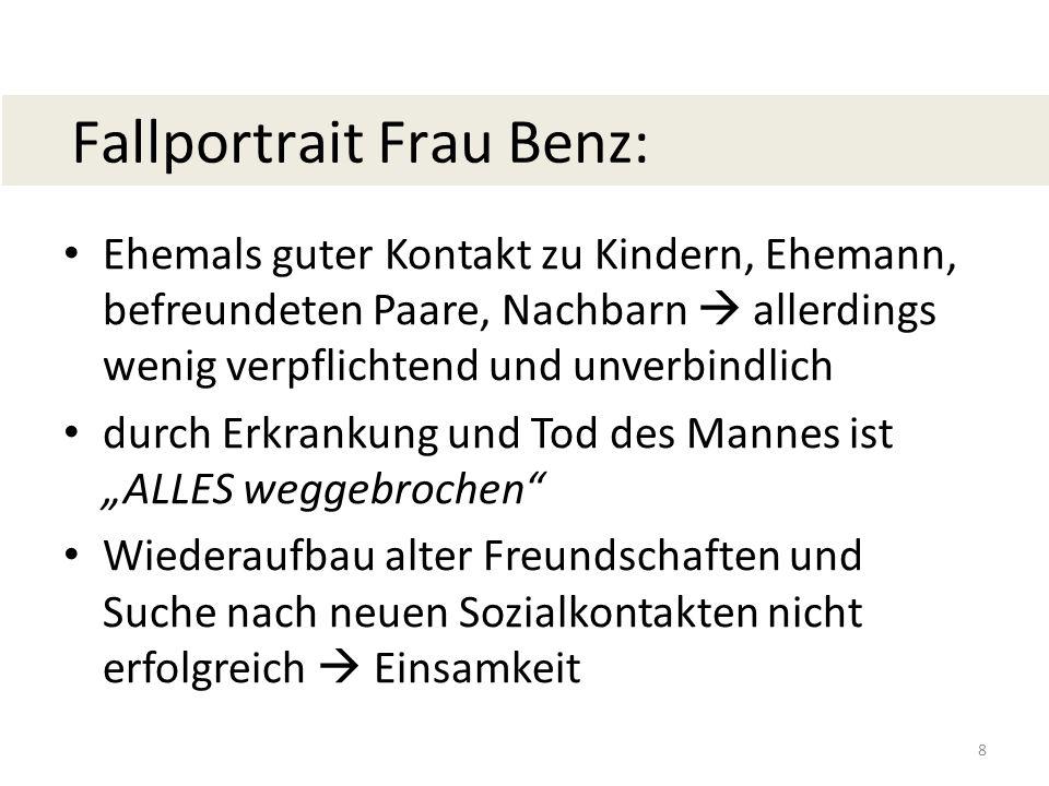 Fallportrait Frau Benz: