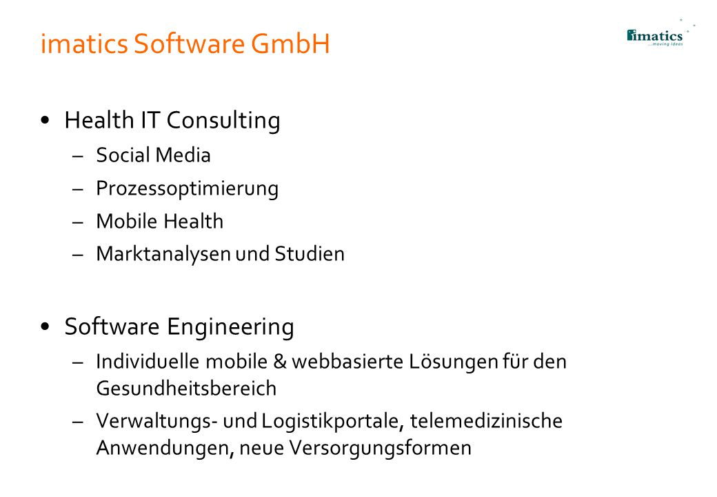 imatics Software GmbH Health IT Consulting Software Engineering