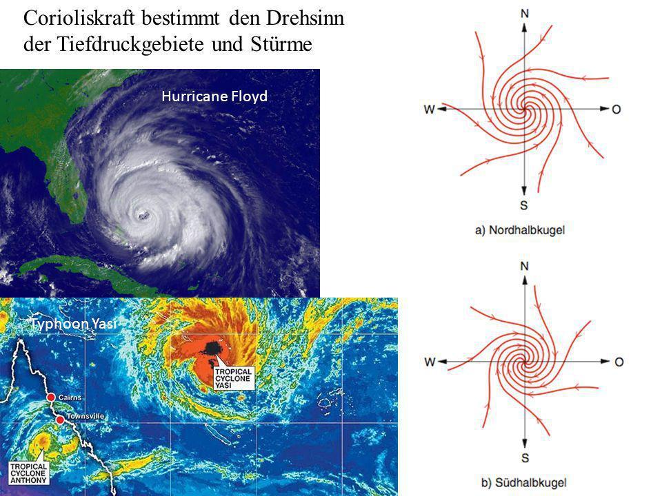 Corioliskraft bestimmt den Drehsinn der Tiefdruckgebiete und Stürme
