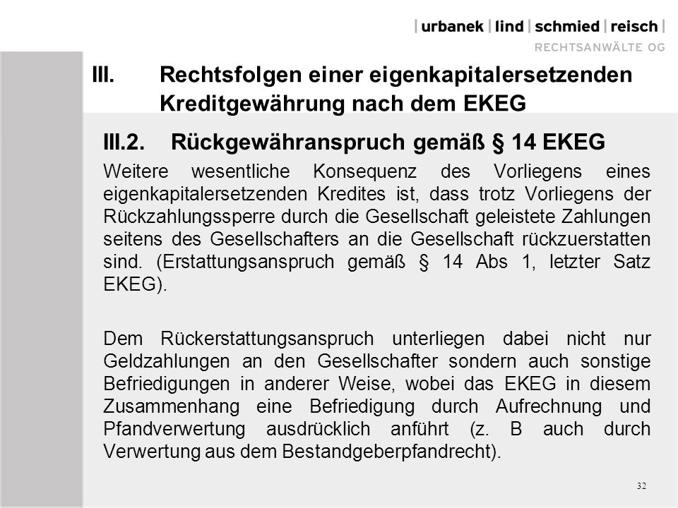III.2. Rückgewähranspruch gemäß § 14 EKEG