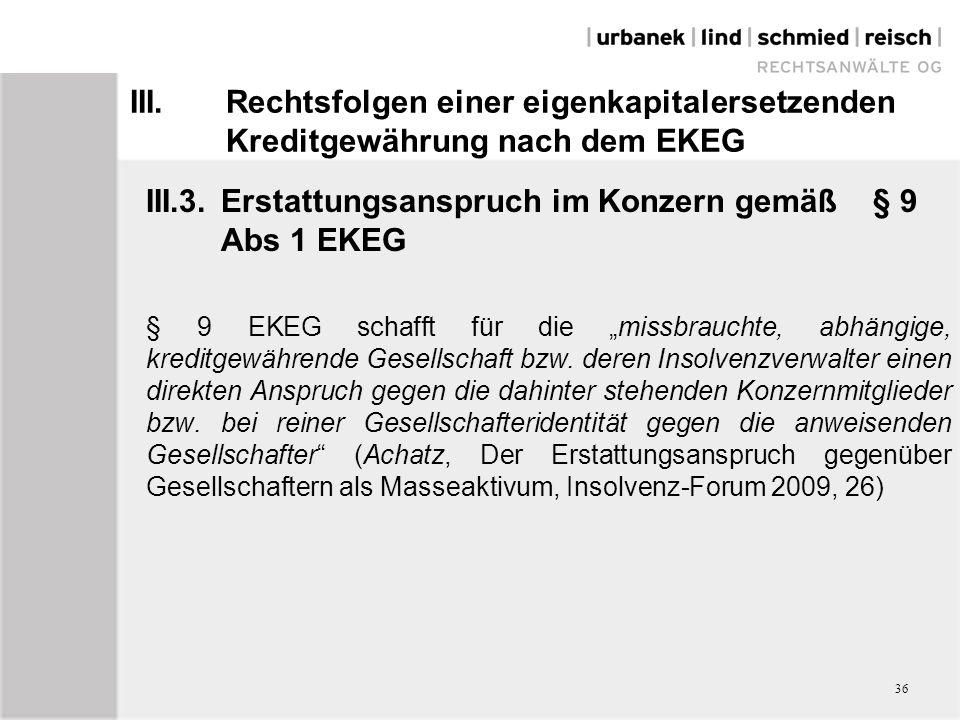 III.3. Erstattungsanspruch im Konzern gemäß § 9 Abs 1 EKEG