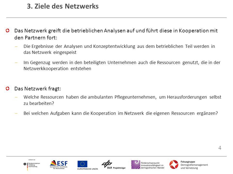 3. Ziele des Netzwerks Strukturen des Netzwerks Zukunft:Pflege