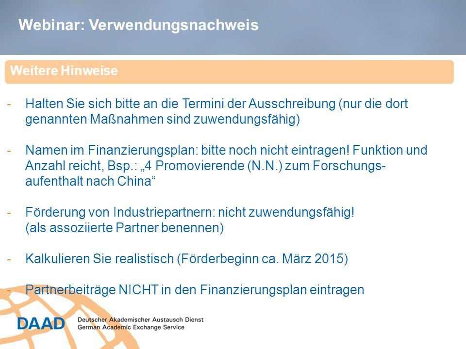 Webinar: Verwendungsnachweis