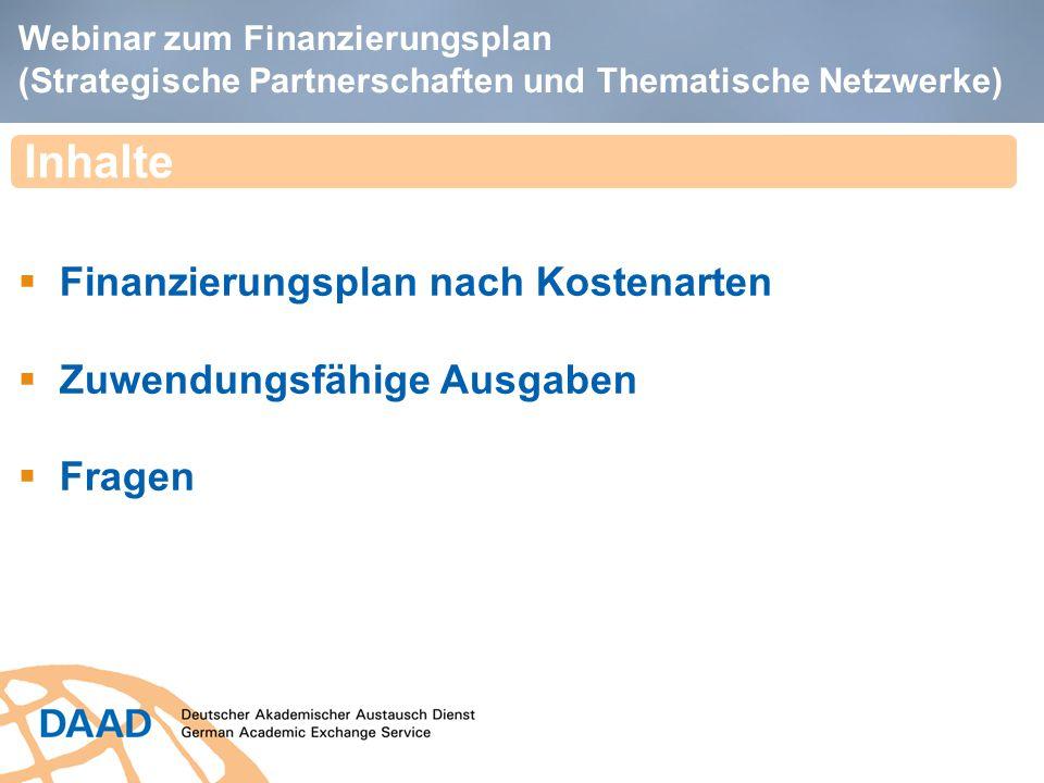 Inhalte Finanzierungsplan nach Kostenarten Zuwendungsfähige Ausgaben