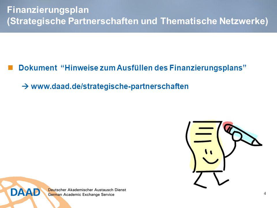 Finanzierungsplan (Strategische Partnerschaften und Thematische Netzwerke)