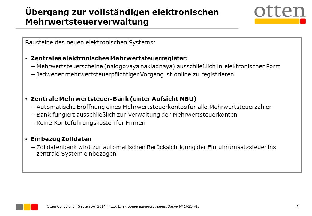 Übergang zur vollständigen elektronischen Mehrwertsteuerverwaltung