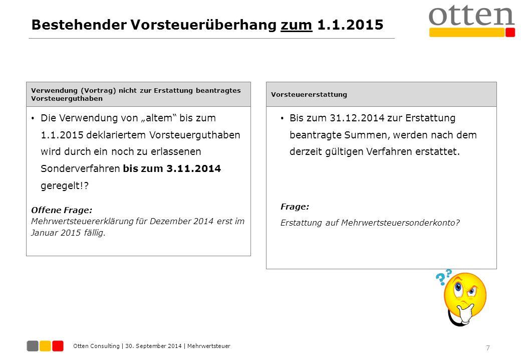 Bestehender Vorsteuerüberhang zum 1.1.2015