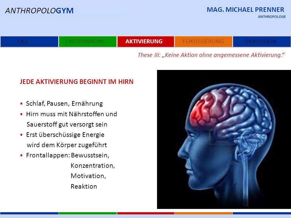 ANTHROPOLOGYM MAG. MICHAEL PRENNER Jede Aktivierung beginnt im Hirn