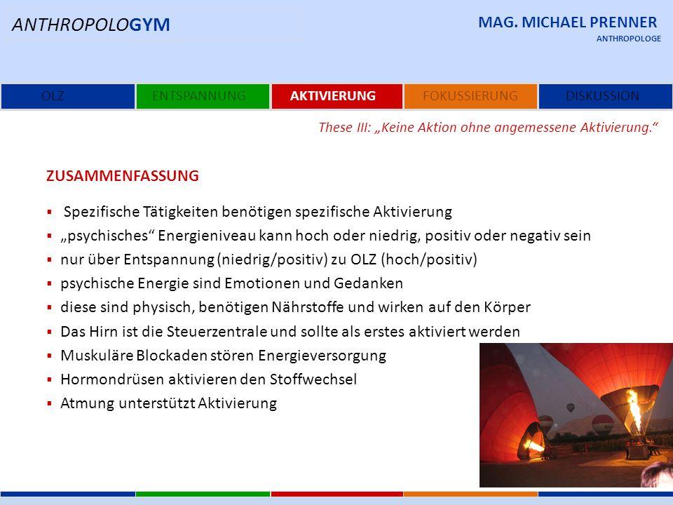 ANTHROPOLOGYM MAG. MICHAEL PRENNER Zusammenfassung