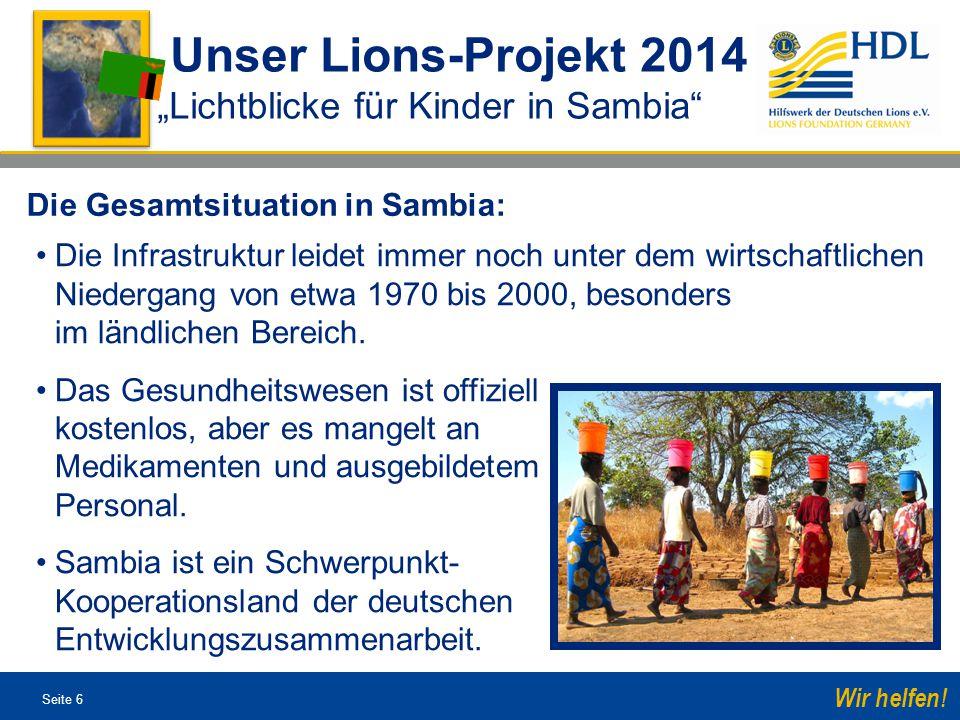 """Unser Lions-Projekt 2014 """"Lichtblicke für Kinder in Sambia"""