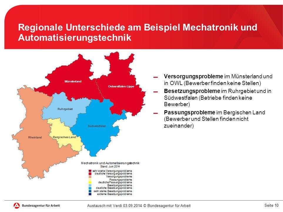 Regionale Unterschiede am Beispiel Mechatronik und Automatisierungstechnik
