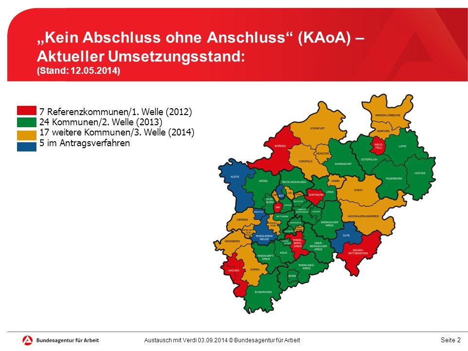 """""""Kein Abschluss ohne Anschluss (KAoA) – Aktueller Umsetzungsstand: (Stand: 12.05.2014)"""