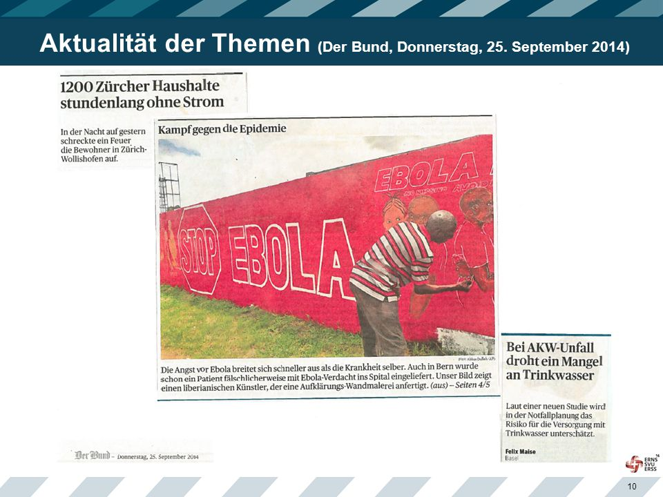 Aktualität der Themen (Der Bund, Donnerstag, 25. September 2014)