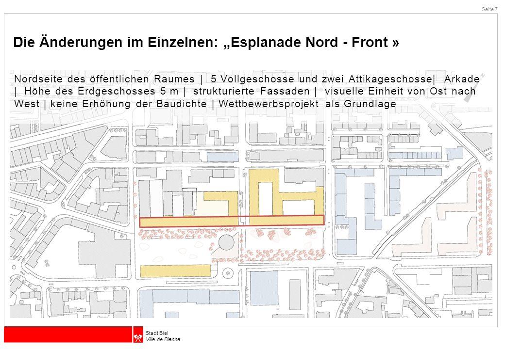 """Die Änderungen im Einzelnen: """"Esplanade Nord - Front »"""