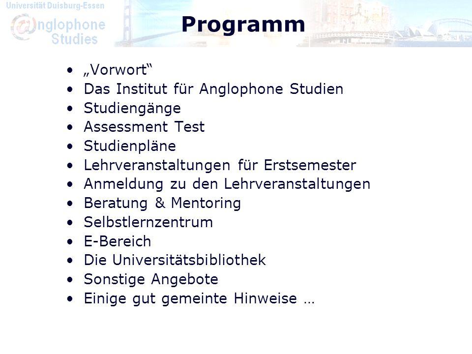 """Programm """"Vorwort Das Institut für Anglophone Studien Studiengänge"""