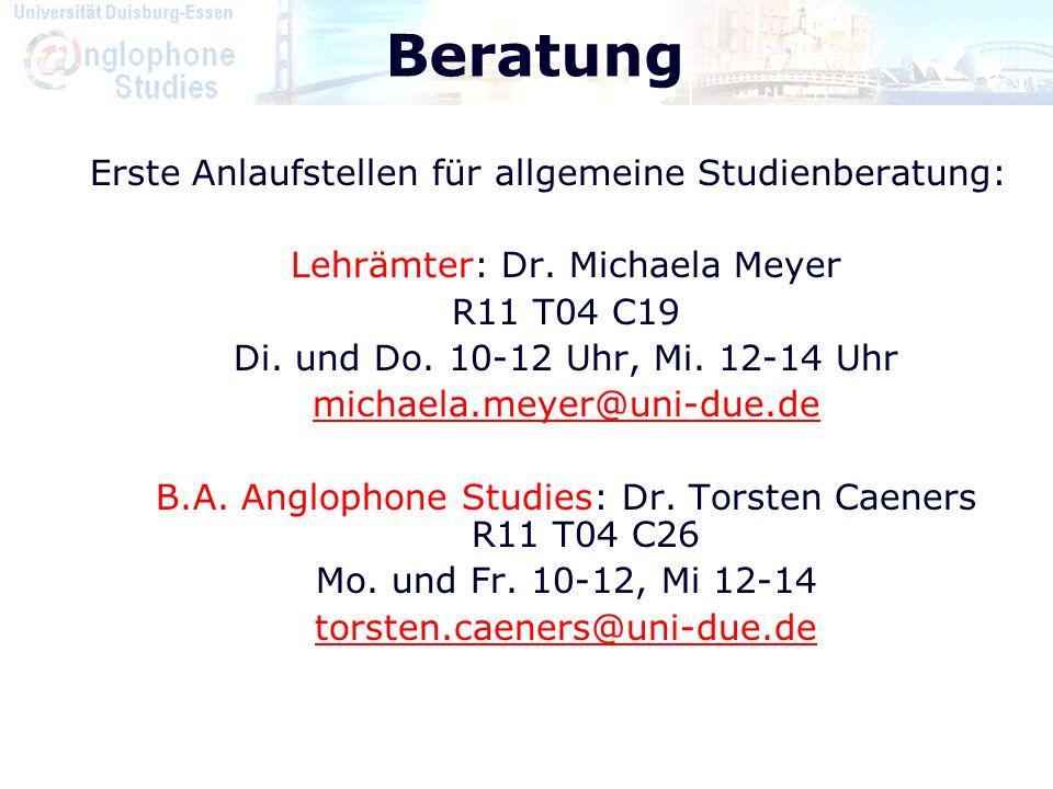 Beratung Erste Anlaufstellen für allgemeine Studienberatung: