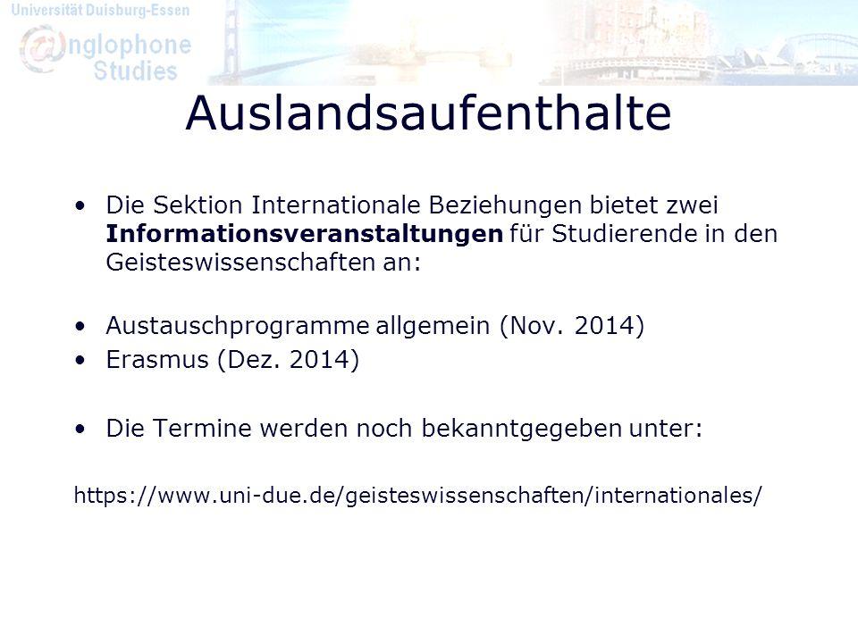 Auslandsaufenthalte Die Sektion Internationale Beziehungen bietet zwei Informationsveranstaltungen für Studierende in den Geisteswissenschaften an: