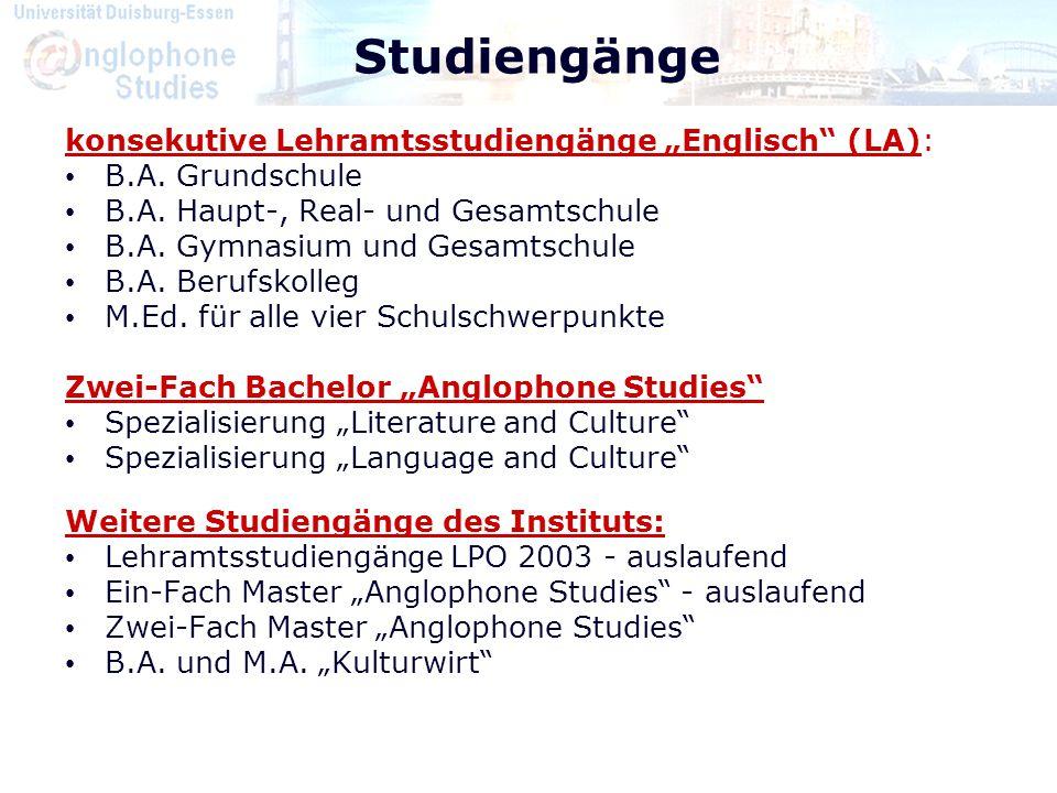"""Studiengänge konsekutive Lehramtsstudiengänge """"Englisch (LA):"""
