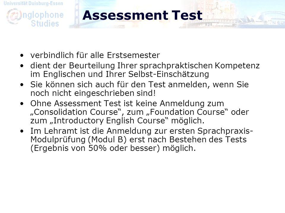 Assessment Test verbindlich für alle Erstsemester