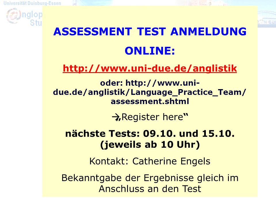 Assessment-Tests Termine: