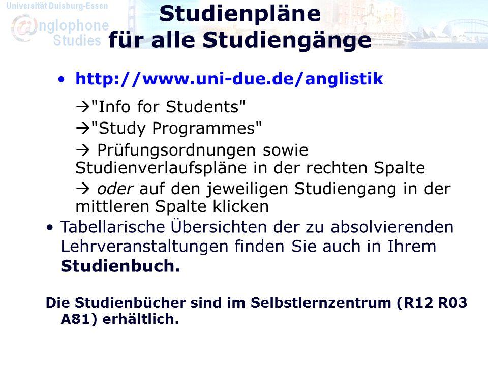 Studienpläne für alle Studiengänge
