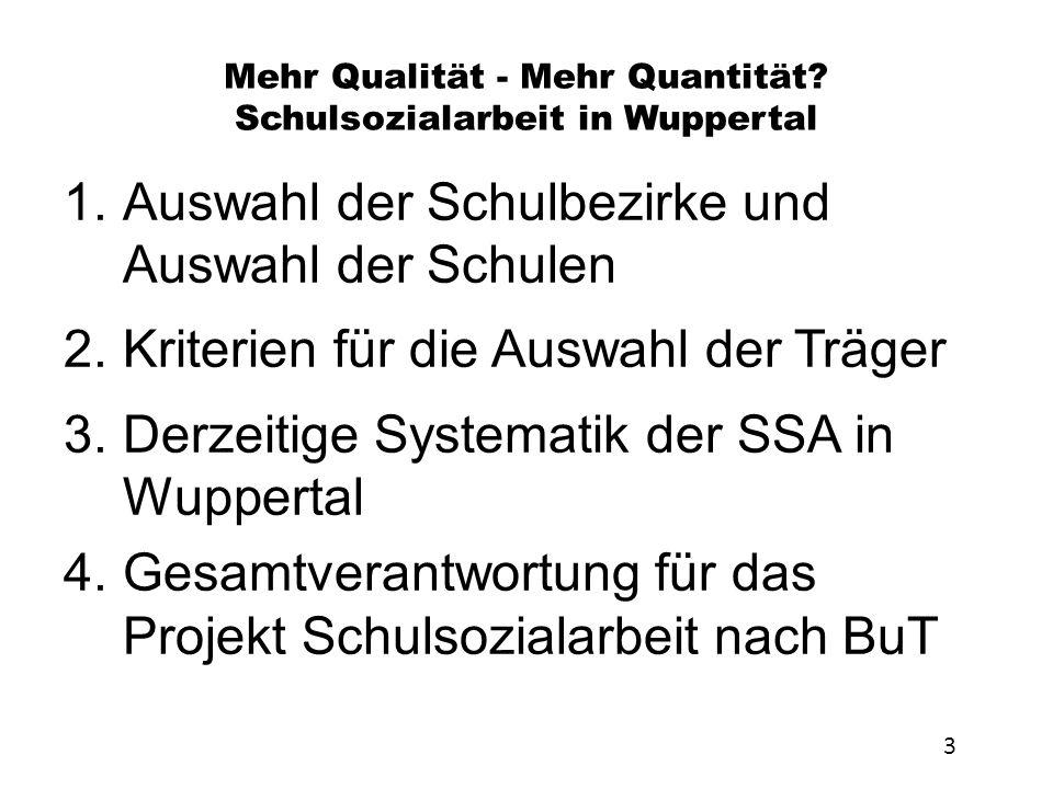 Mehr Qualität - Mehr Quantität Schulsozialarbeit in Wuppertal