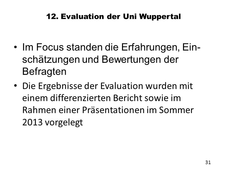 12. Evaluation der Uni Wuppertal