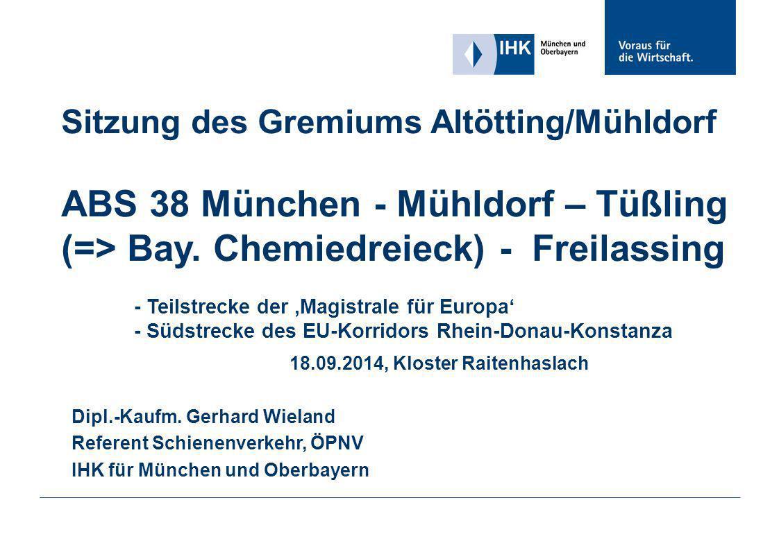 Sitzung des Gremiums Altötting/Mühldorf ABS 38 München - Mühldorf – Tüßling (=> Bay. Chemiedreieck) - Freilassing - Teilstrecke der 'Magistrale für Europa' - Südstrecke des EU-Korridors Rhein-Donau-Konstanza