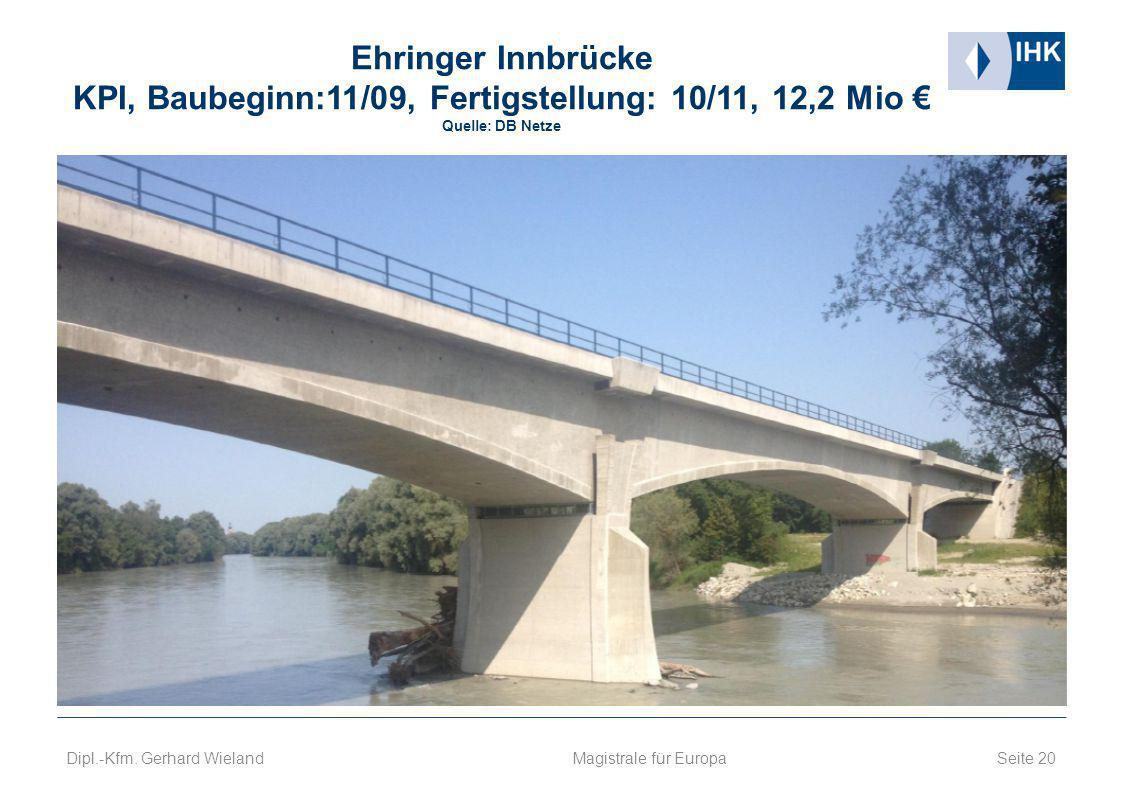 Ehringer Innbrücke KPI, Baubeginn:11/09, Fertigstellung: 10/11, 12,2 Mio € Quelle: DB Netze