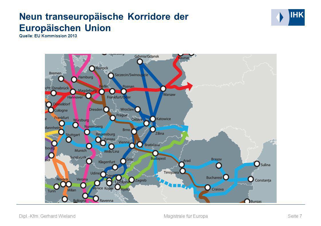Neun transeuropäische Korridore der Europäischen Union Quelle: EU Kommission 2013