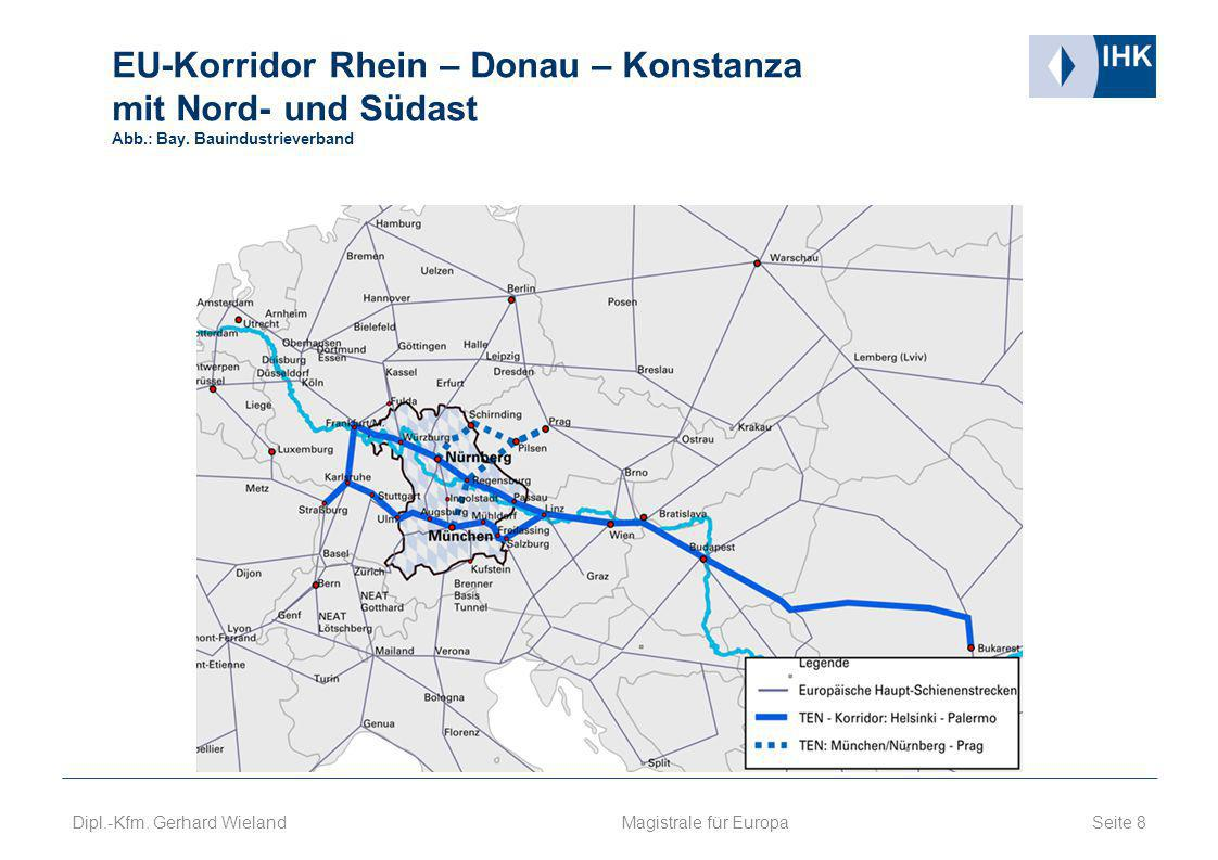 EU-Korridor Rhein – Donau – Konstanza mit Nord- und Südast Abb. : Bay