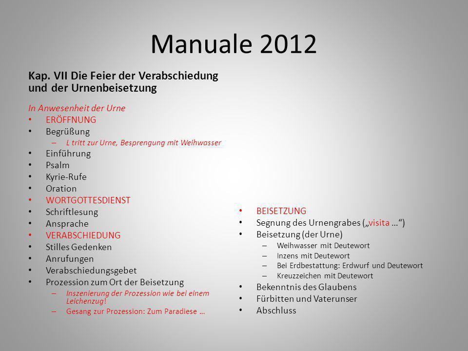 Manuale 2012 Kap. VII Die Feier der Verabschiedung und der Urnenbeisetzung. In Anwesenheit der Urne.