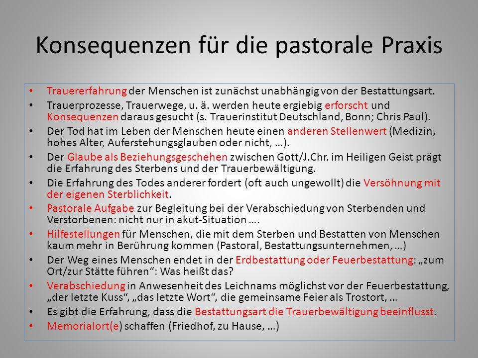 Konsequenzen für die pastorale Praxis