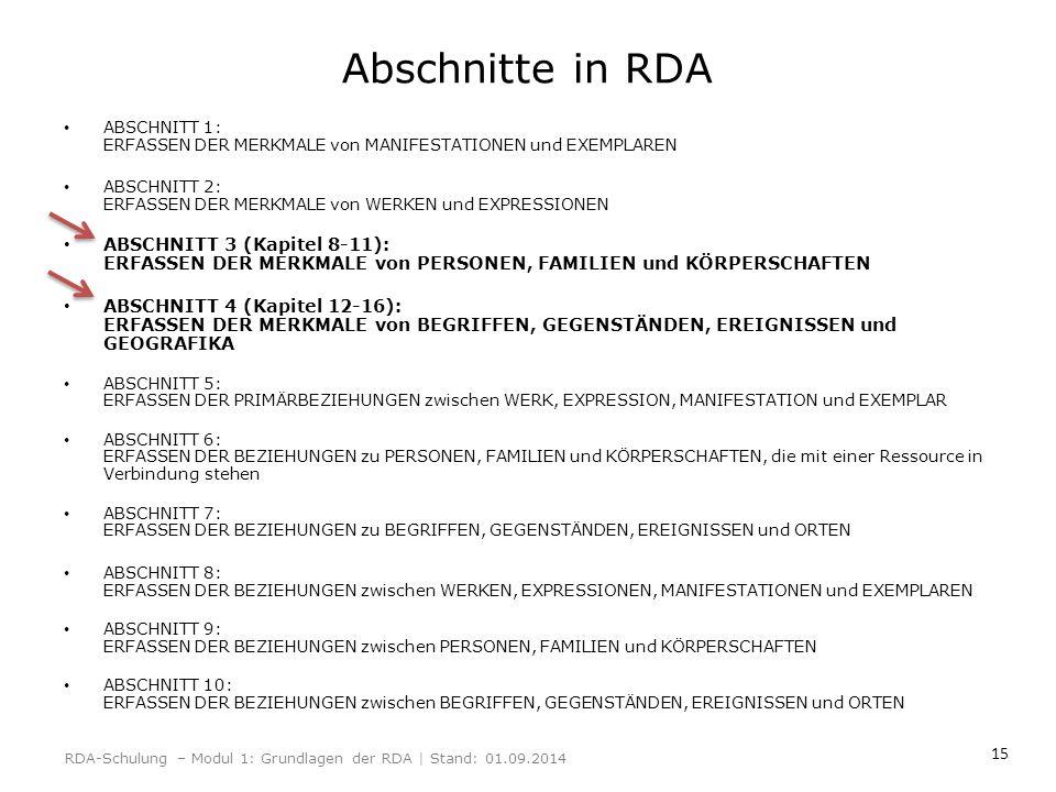 Abschnitte in RDA ABSCHNITT 1: ERFASSEN DER MERKMALE von MANIFESTATIONEN und EXEMPLAREN.
