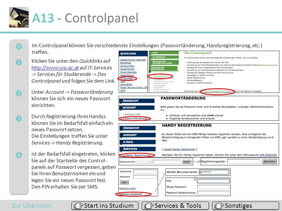 A13 - Controlpanel      Zur Übersicht: Start ins Studium