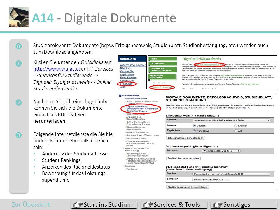 A14 - Digitale Dokumente     Zur Übersicht: Start ins Studium