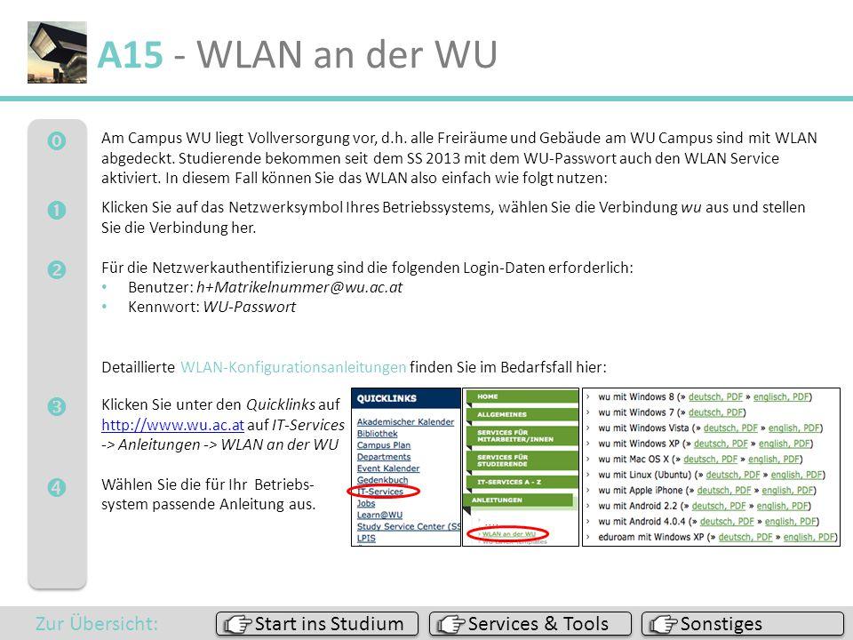 A15 - WLAN an der WU      Zur Übersicht: Start ins Studium