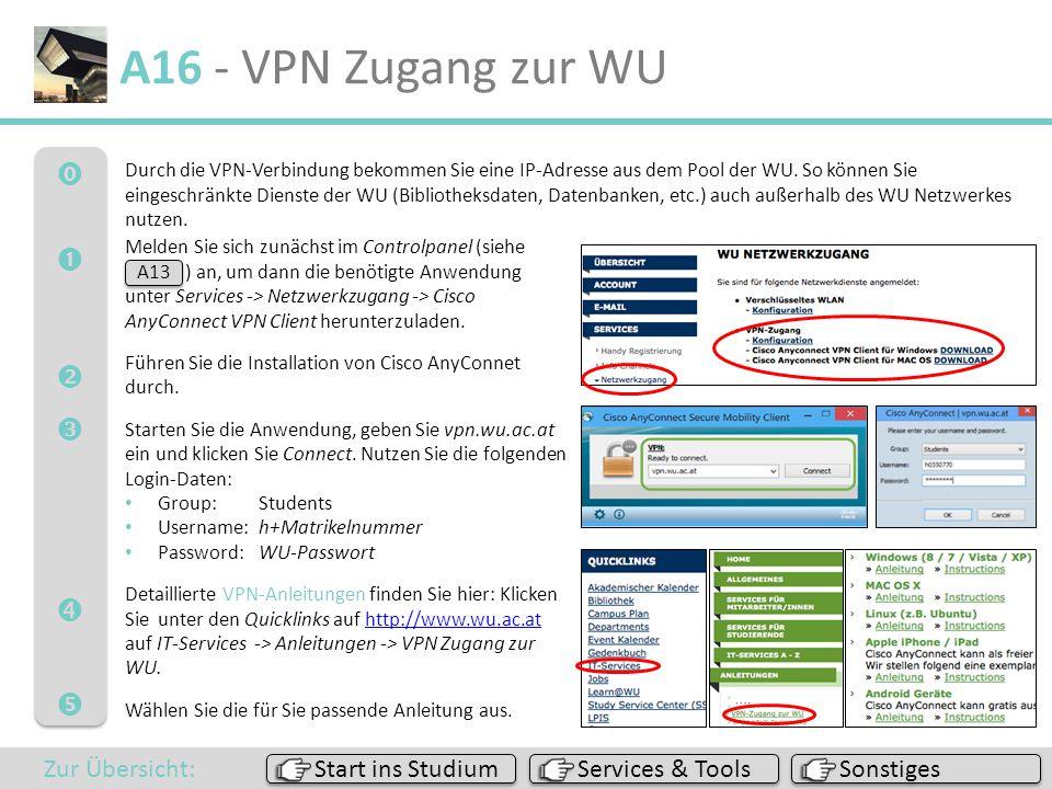 A16 - VPN Zugang zur WU       Zur Übersicht: Start ins Studium
