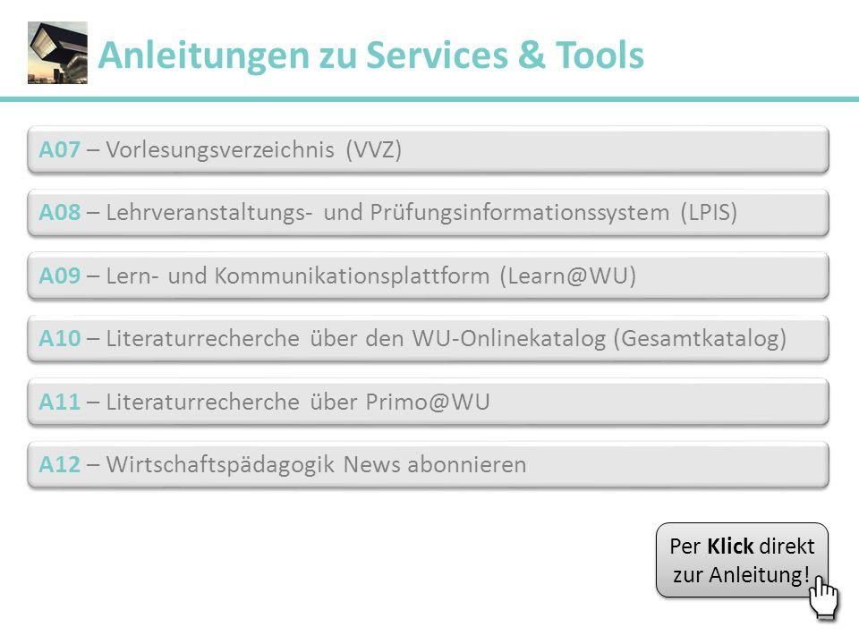 Anleitungen zu Services & Tools