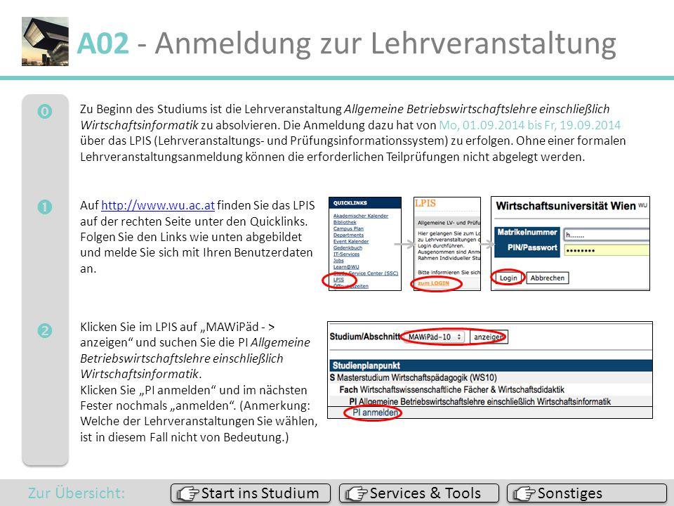 A02 - Anmeldung zur Lehrveranstaltung