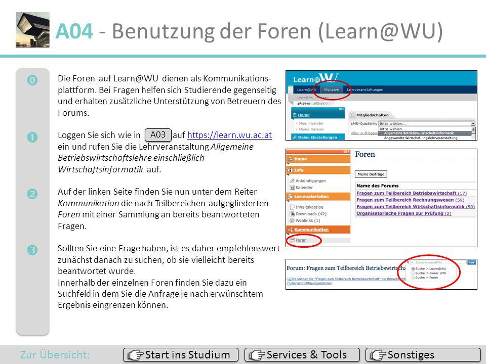A04 - Benutzung der Foren (Learn@WU)
