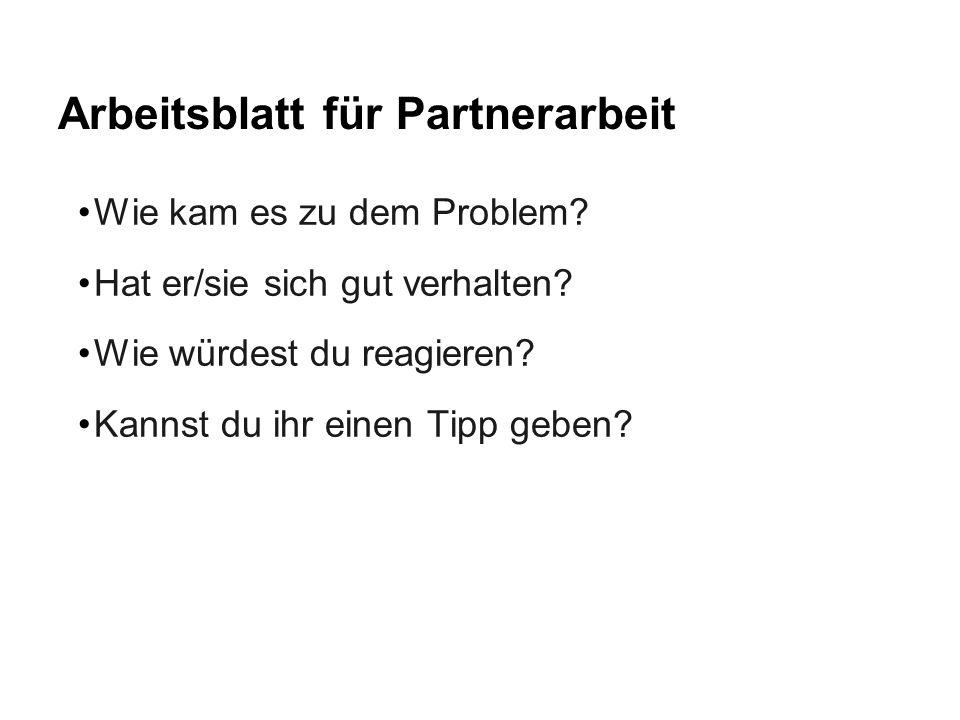 Arbeitsblatt für Partnerarbeit