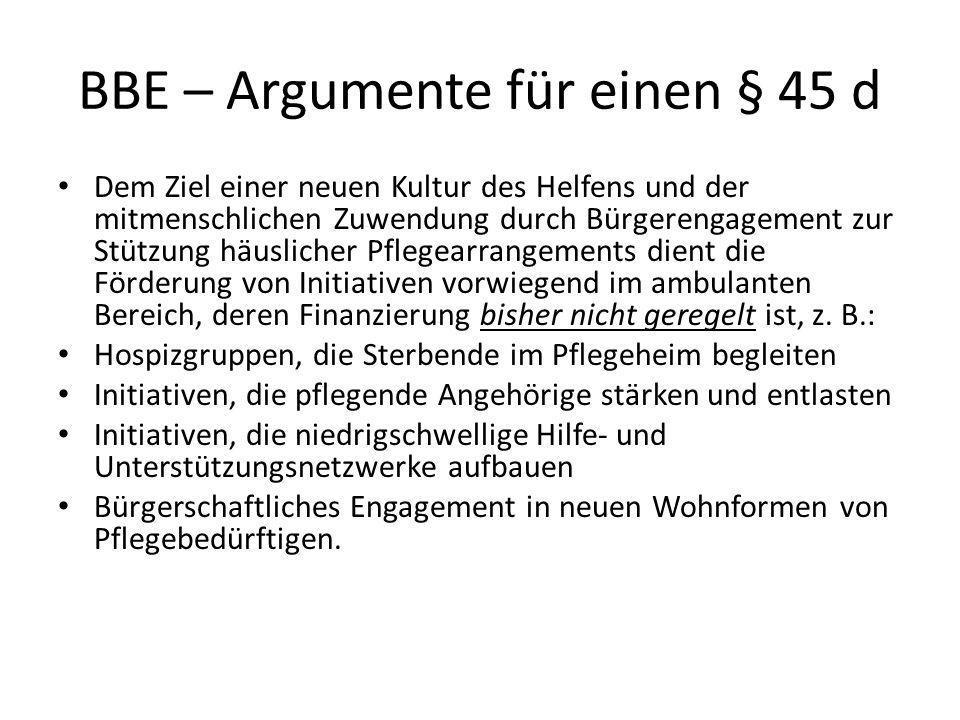BBE – Argumente für einen § 45 d