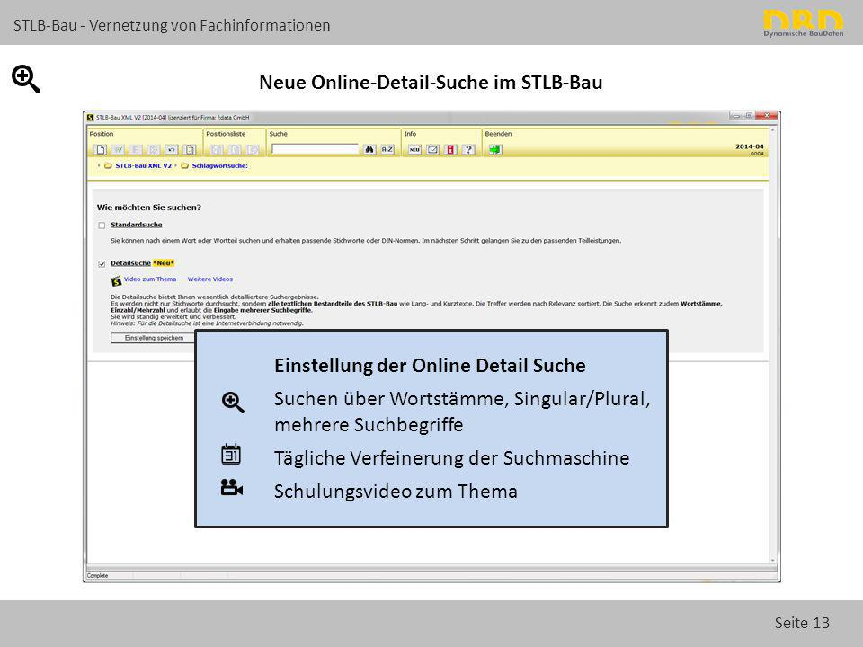 Neue Online-Detail-Suche im STLB-Bau
