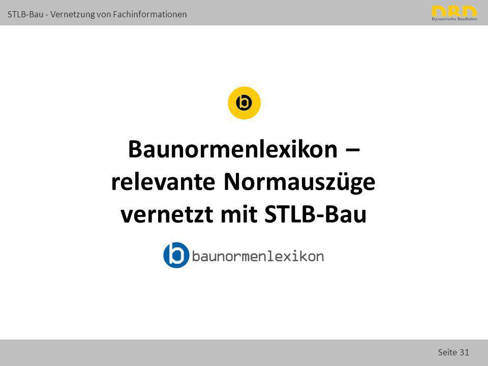 Baunormenlexikon – relevante Normauszüge vernetzt mit STLB-Bau