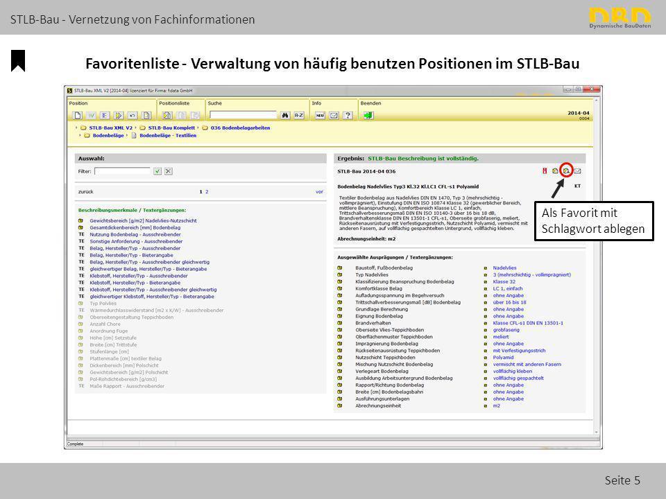 Favoritenliste - Verwaltung von häufig benutzen Positionen im STLB-Bau